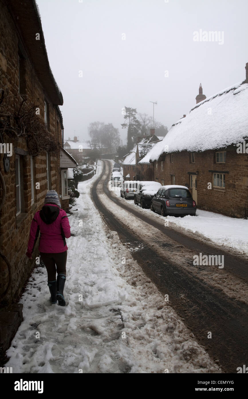 Streets of Hook Norton in Winter - Stock Image