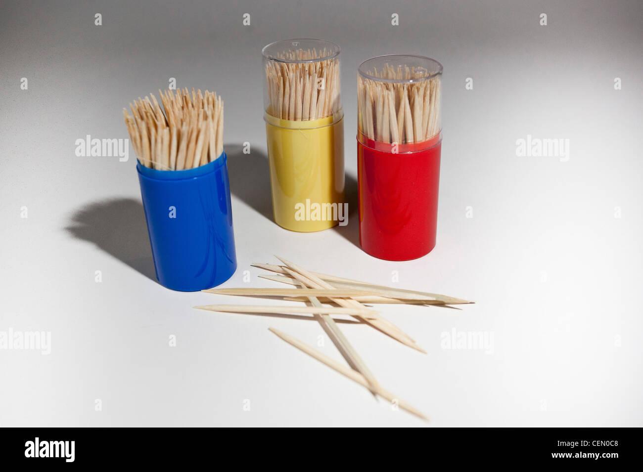 Wooden toothpicks - Stock Image