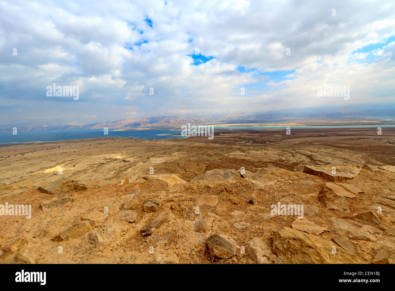 View of surrounding land and the Dead Sea from Masada, an ancient Jewish fortress in the desert of Israel - Stock Image