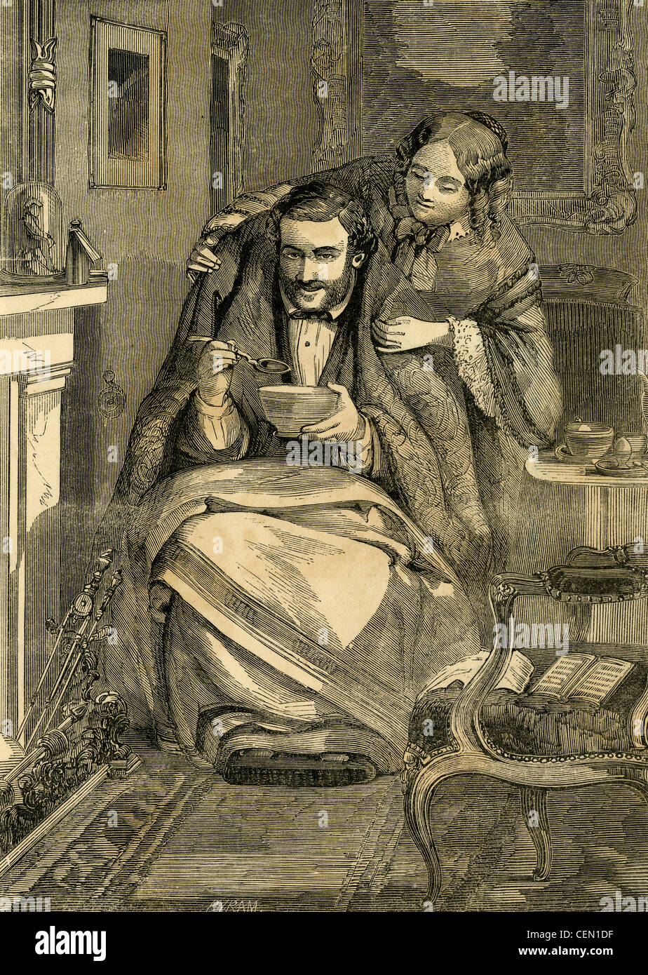 Circa 1850s engraving, Married and Happy. - Stock Image