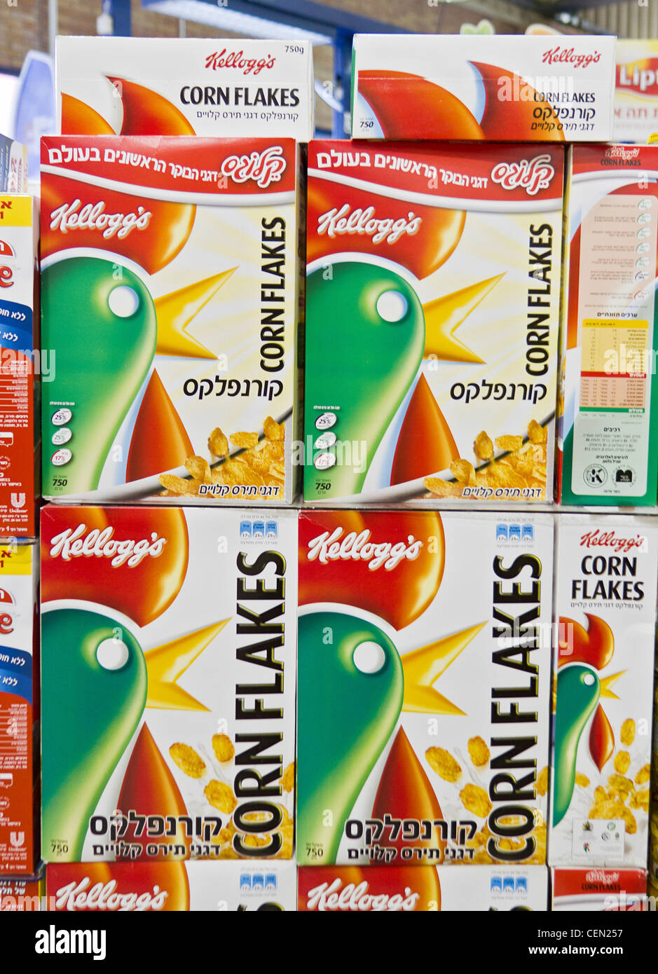 Corn flakes with Hebrew lettering in a grocery store in Israel. - Stock Image