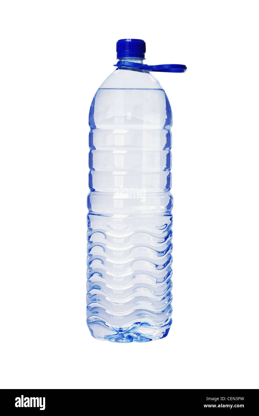 Plastic Bottle of Water with Handle on White Background - Stock Image