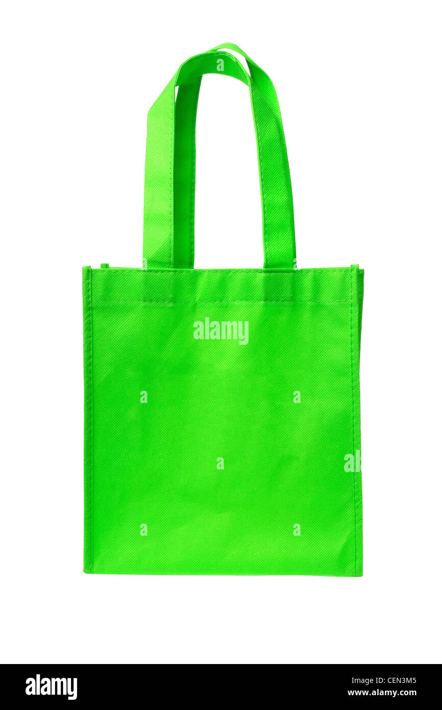 Green Shopping Bag with Handle on White Background - Stock Image