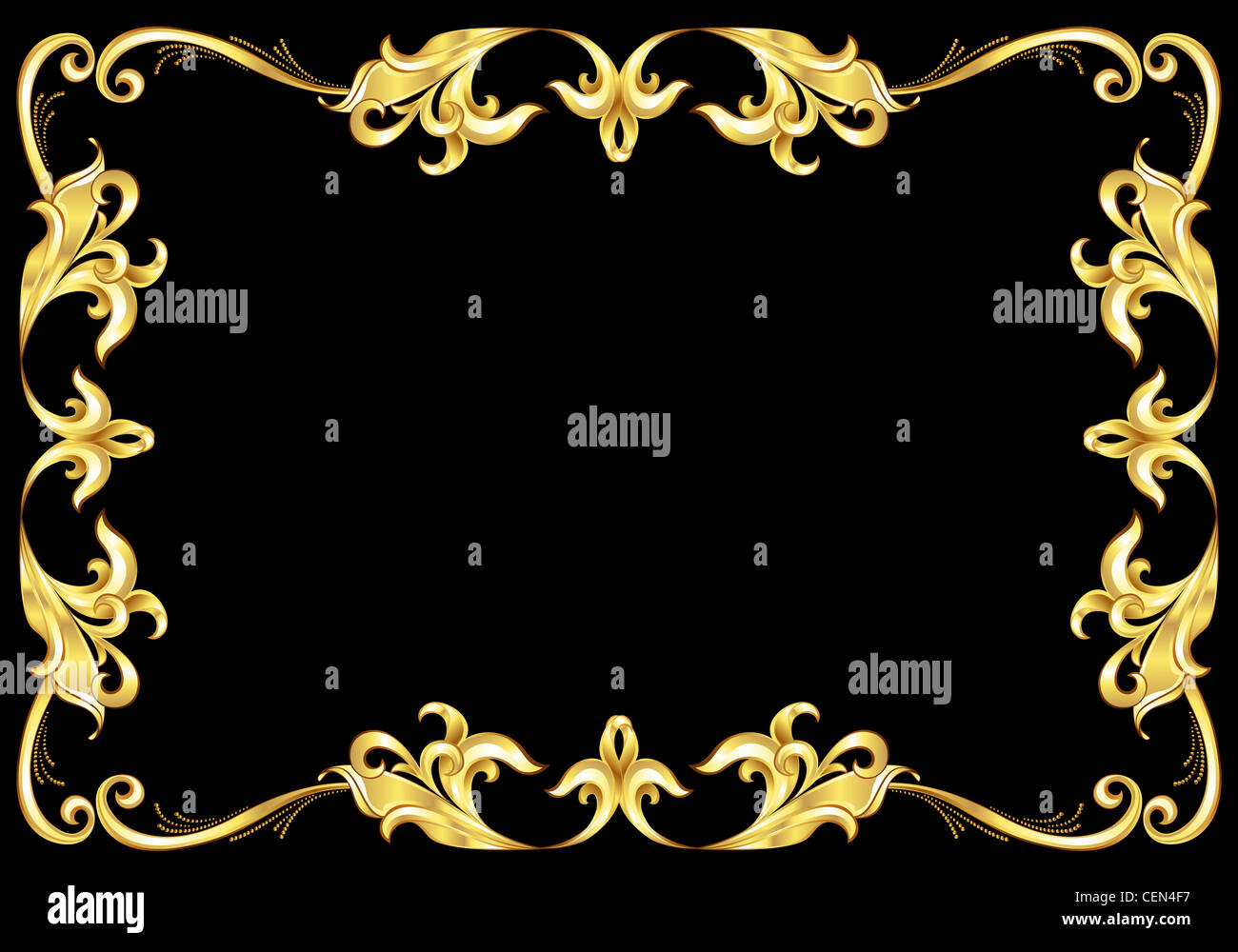 Abstract Gold Frame Illustration On Black Background For Design