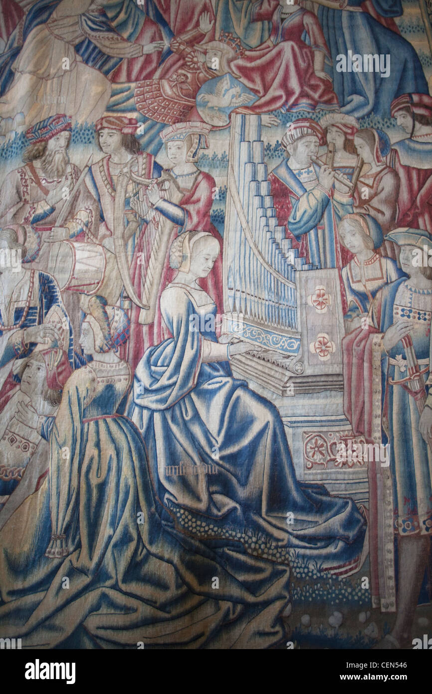 England, London, Hampton Court Palace, Tapestry in the Great Hall Stock Photo