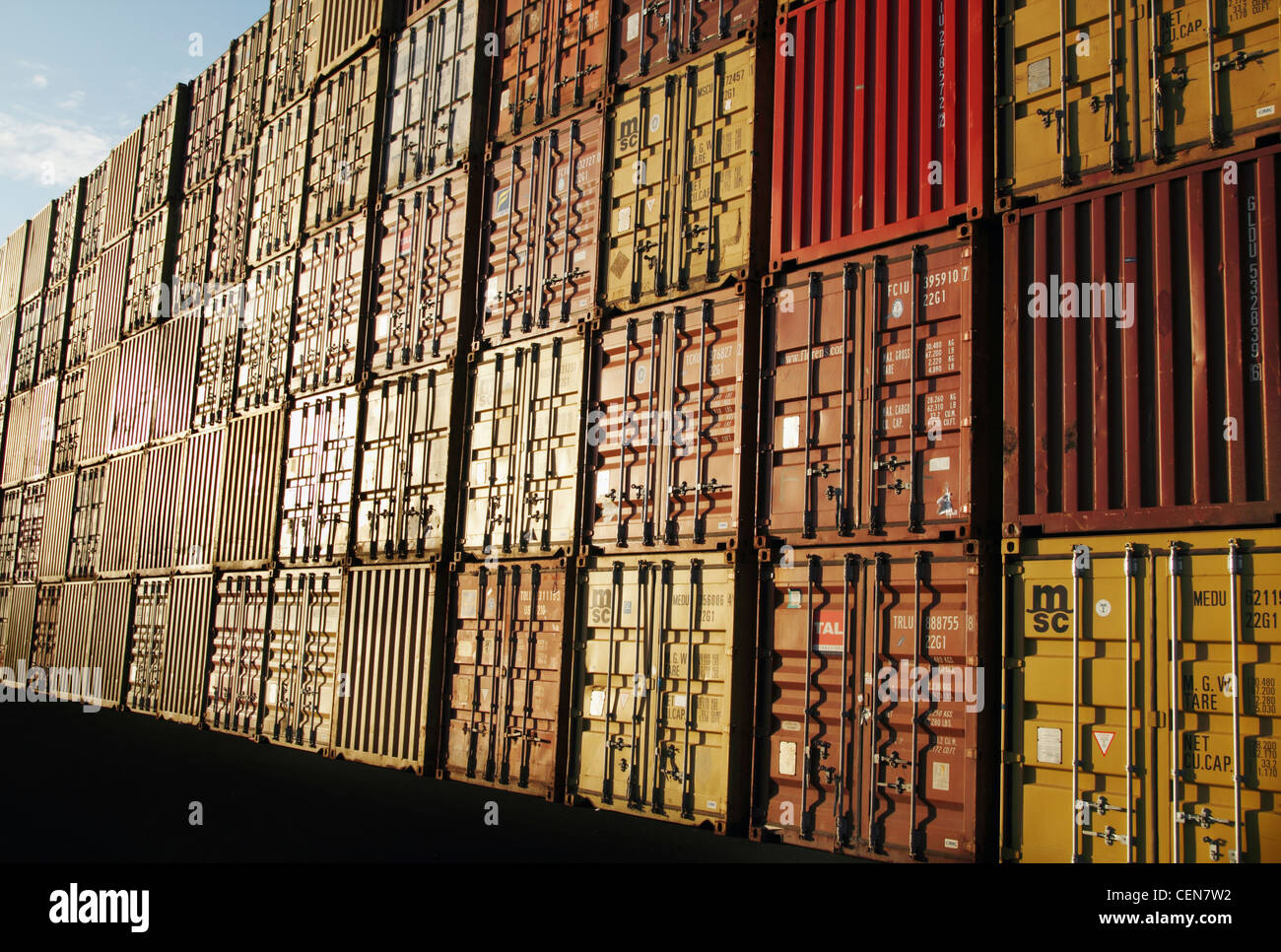 Shipping containers at port at sunrise Stock Photo