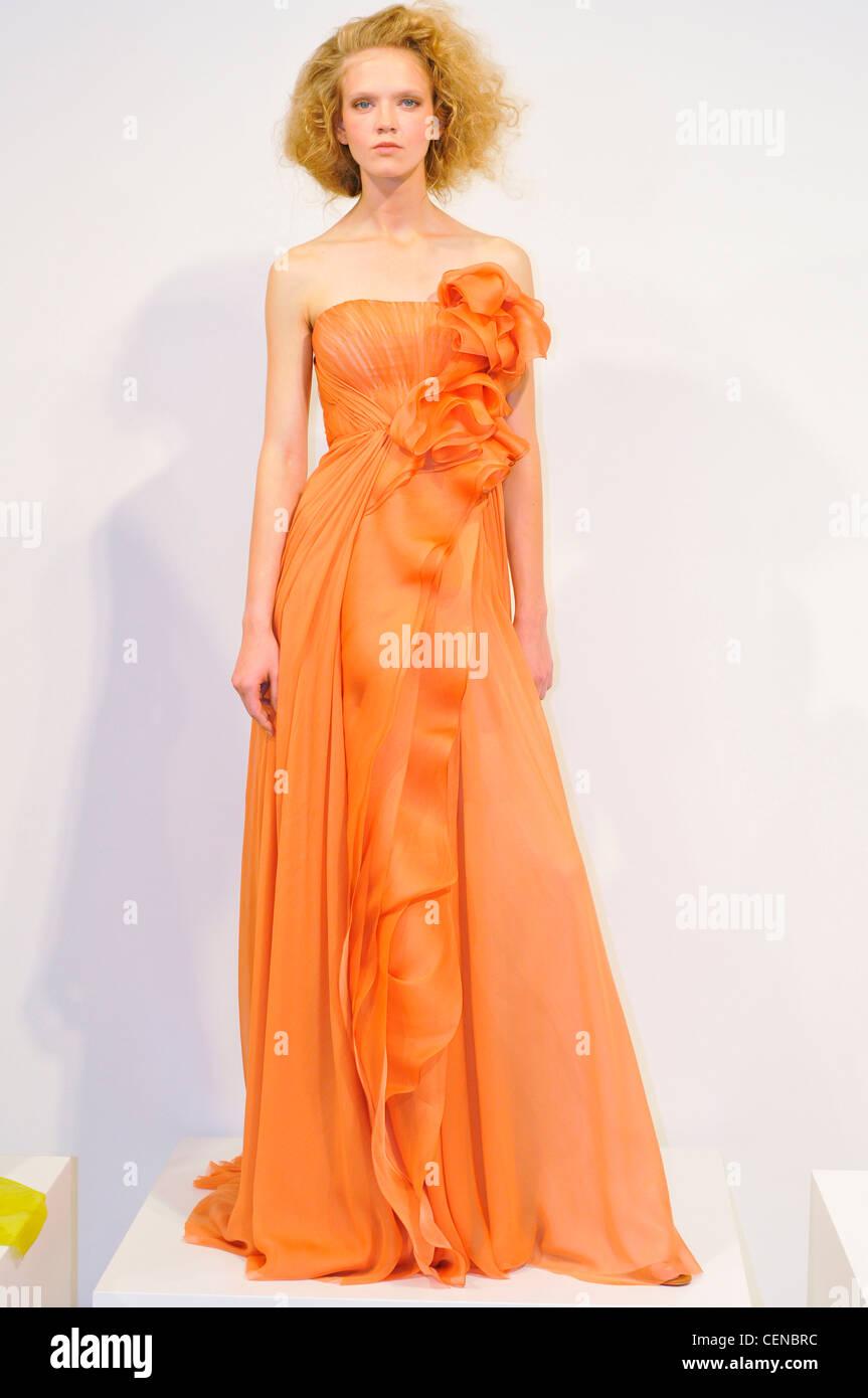 J Mendel New York Ready to Wear Spring Summer An orange organza ...