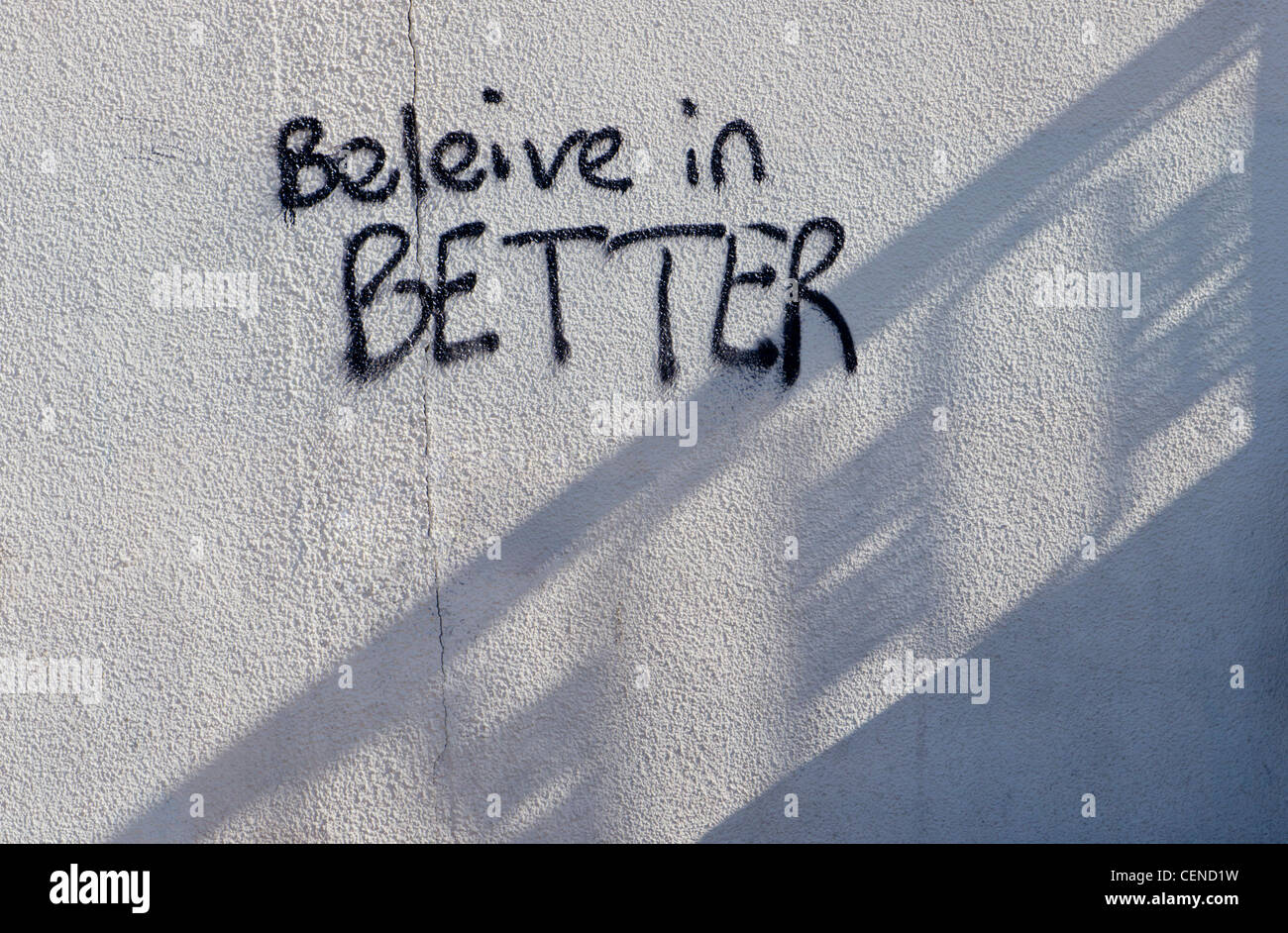 Europe, UK, England, graffiti believe in better - Stock Image