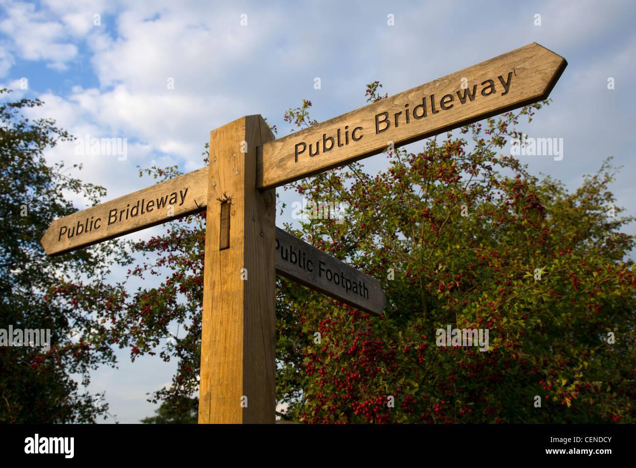 UK, England, Surrey, public bridleway signpost - Stock Image
