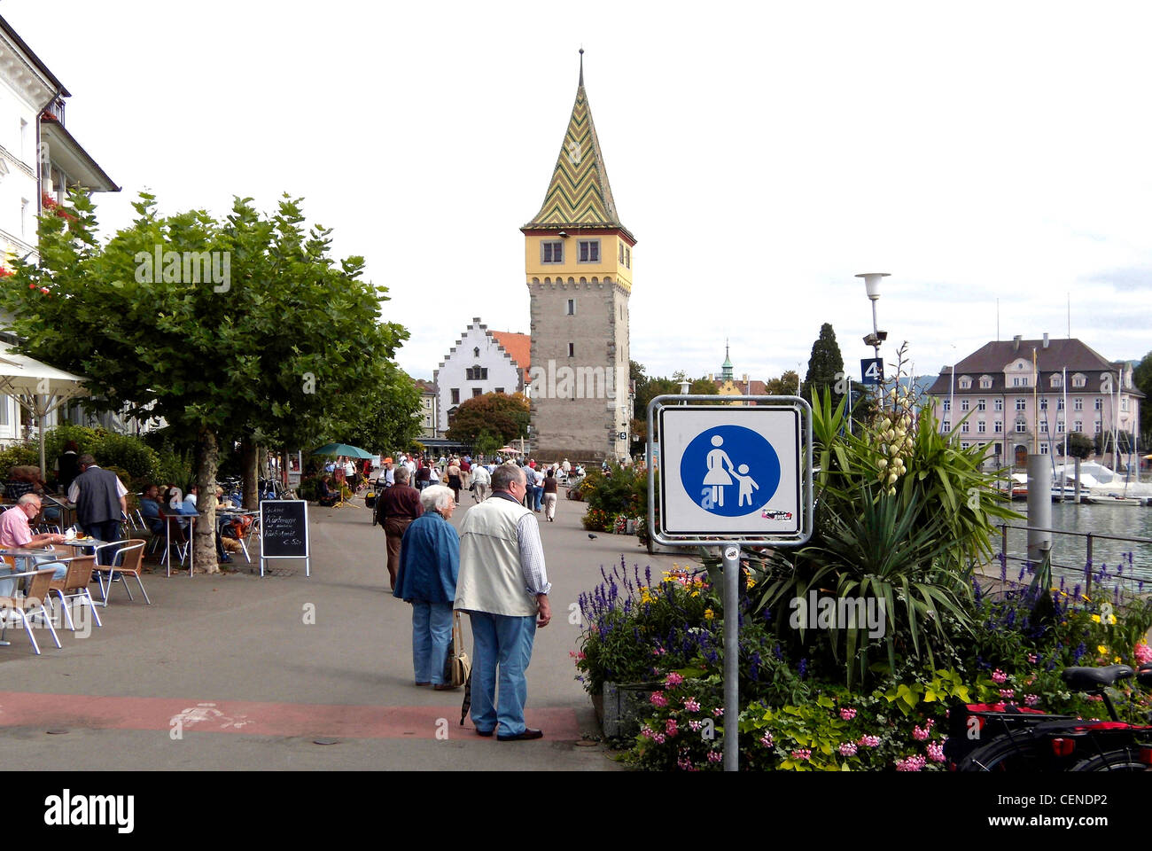 Port of Lindau in Lake Constance with Mang Tower. - Stock Image