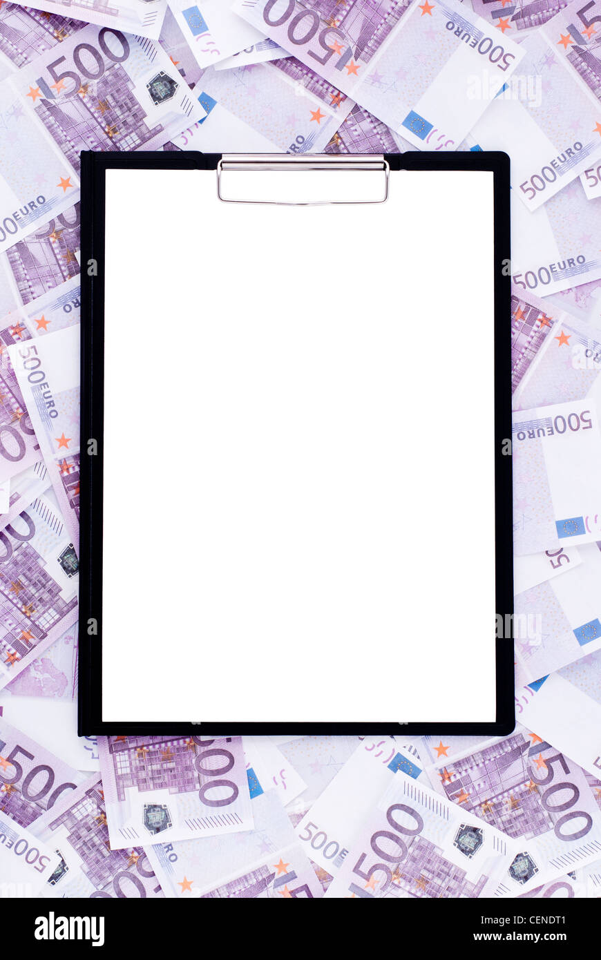 Clipboard surrounded by money - Stock Image