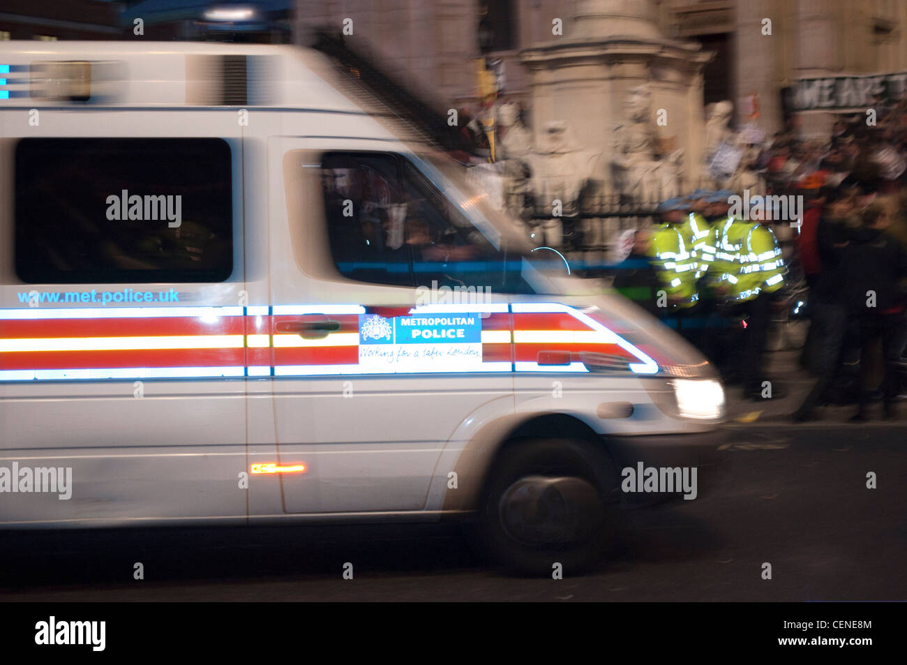 A police van pulls up outside St Paul's Cathedral during the first evening of the Occupy London protest camp - Stock Image
