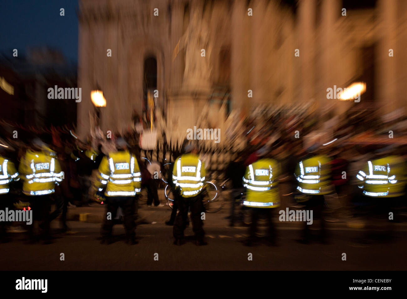 Police form a line outside St Paul's Cathedral on the first day of the Occupy London protests 2011 - Stock Image