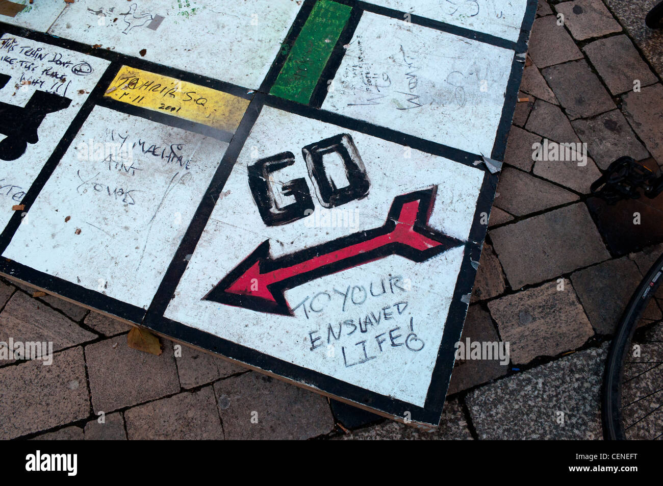 A giant monopoly board outside St Paul's Cathedral in London UK during the Occupy protests of 2011 - 2012 - Stock Image