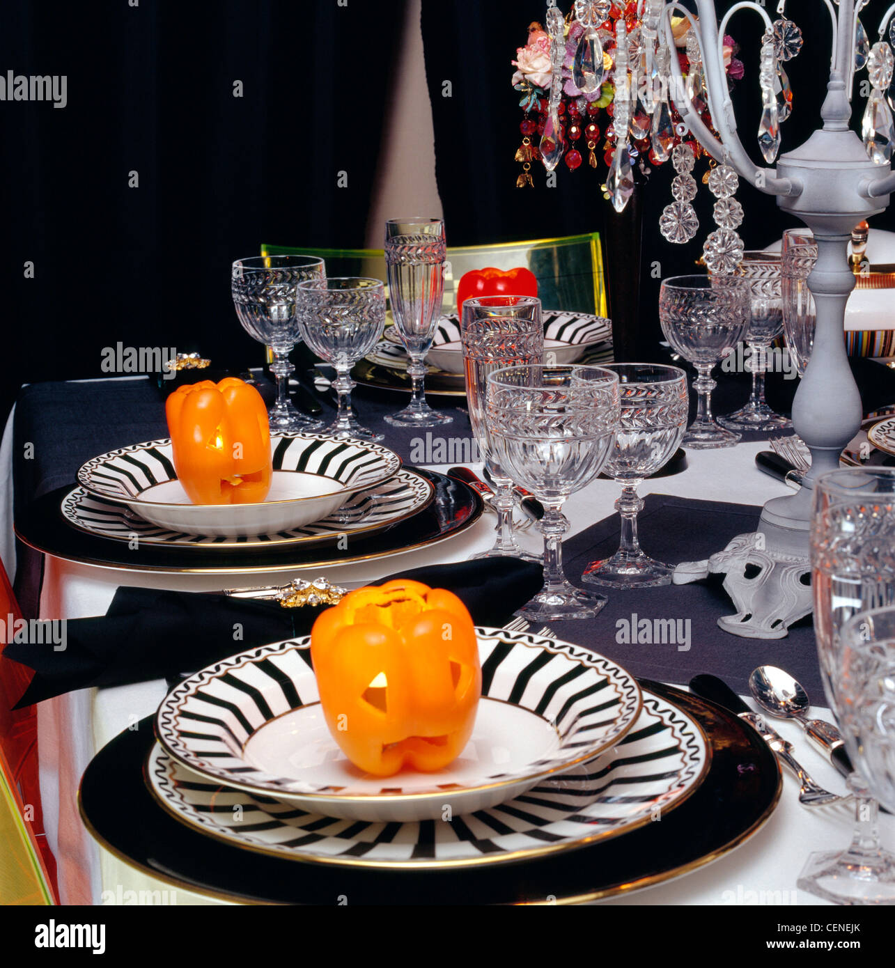 Halloween Tablesetting Table Laid White Tablecloth And Grey Runners, Black  And White Striped Bowls And