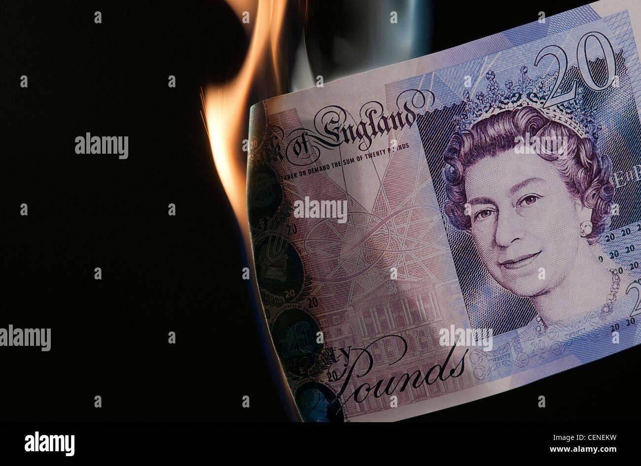 burning money - Stock Image