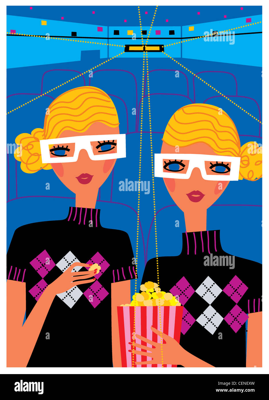 Wellbeing horoscopes Gemini Illustration of two females, blonde wavy hair tied at the side, wearing D glasses, black - Stock Image