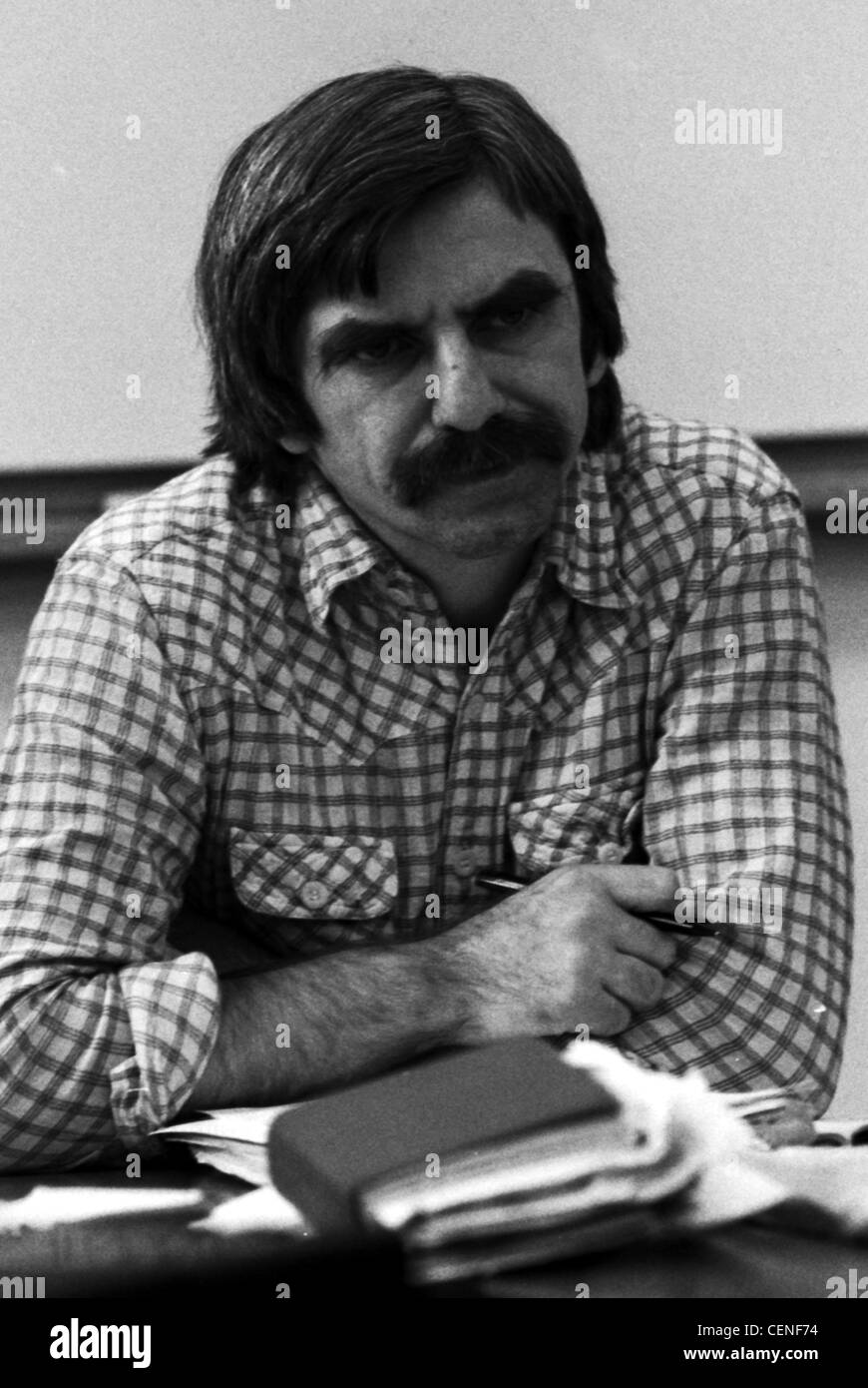 Rudi Dutschke - * 07.03.1940 - 24.12.1979: Portrait of the Berlin student leader and politician at a press conference. Stock Photo