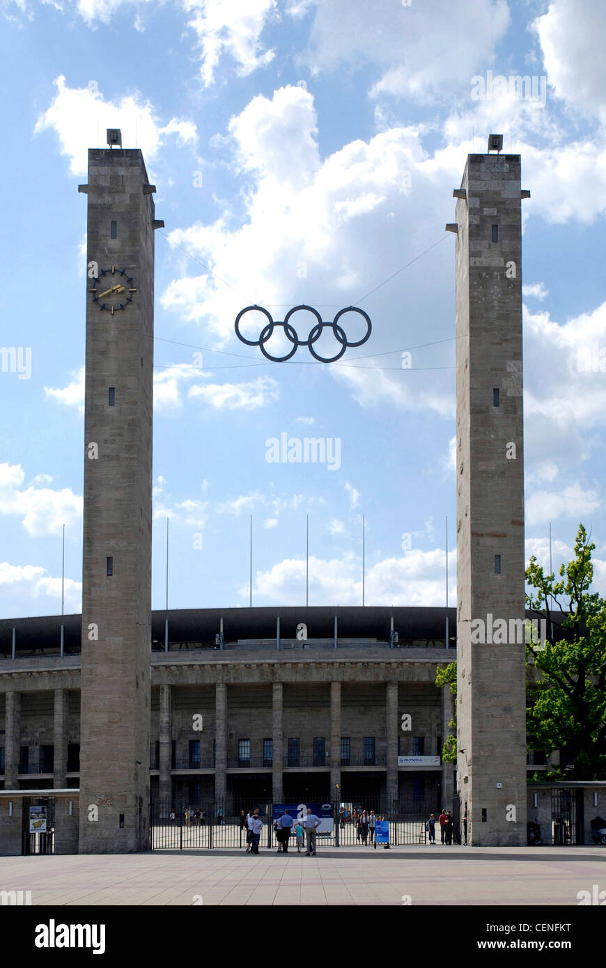Olympic stadium in Berlin with the Olympic rings over the main entrance. - Stock Image