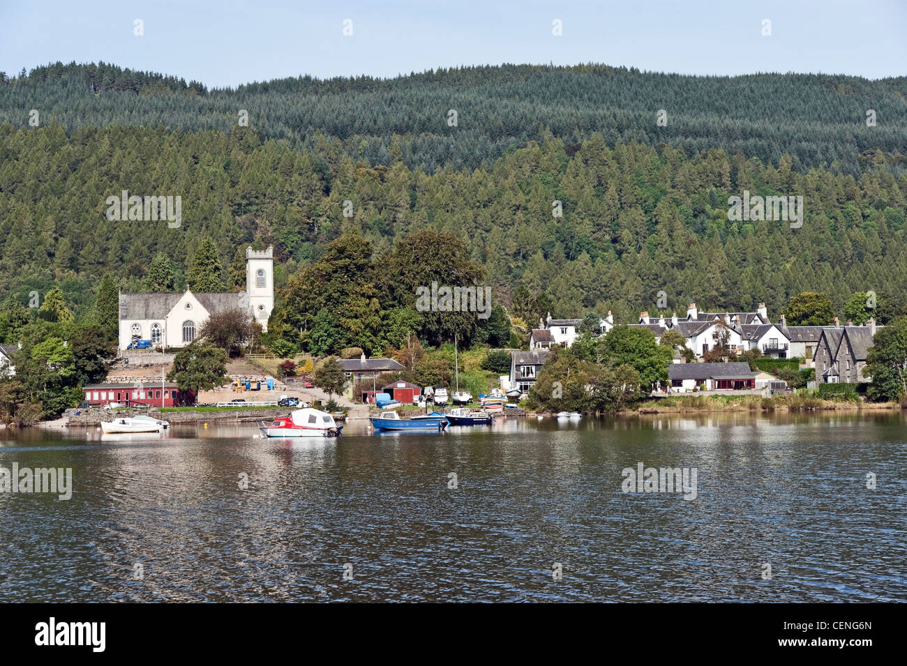 The Scottish village of Kenmore on the River Tay viewed from the south side of the river on a sunny autumn day. - Stock Image