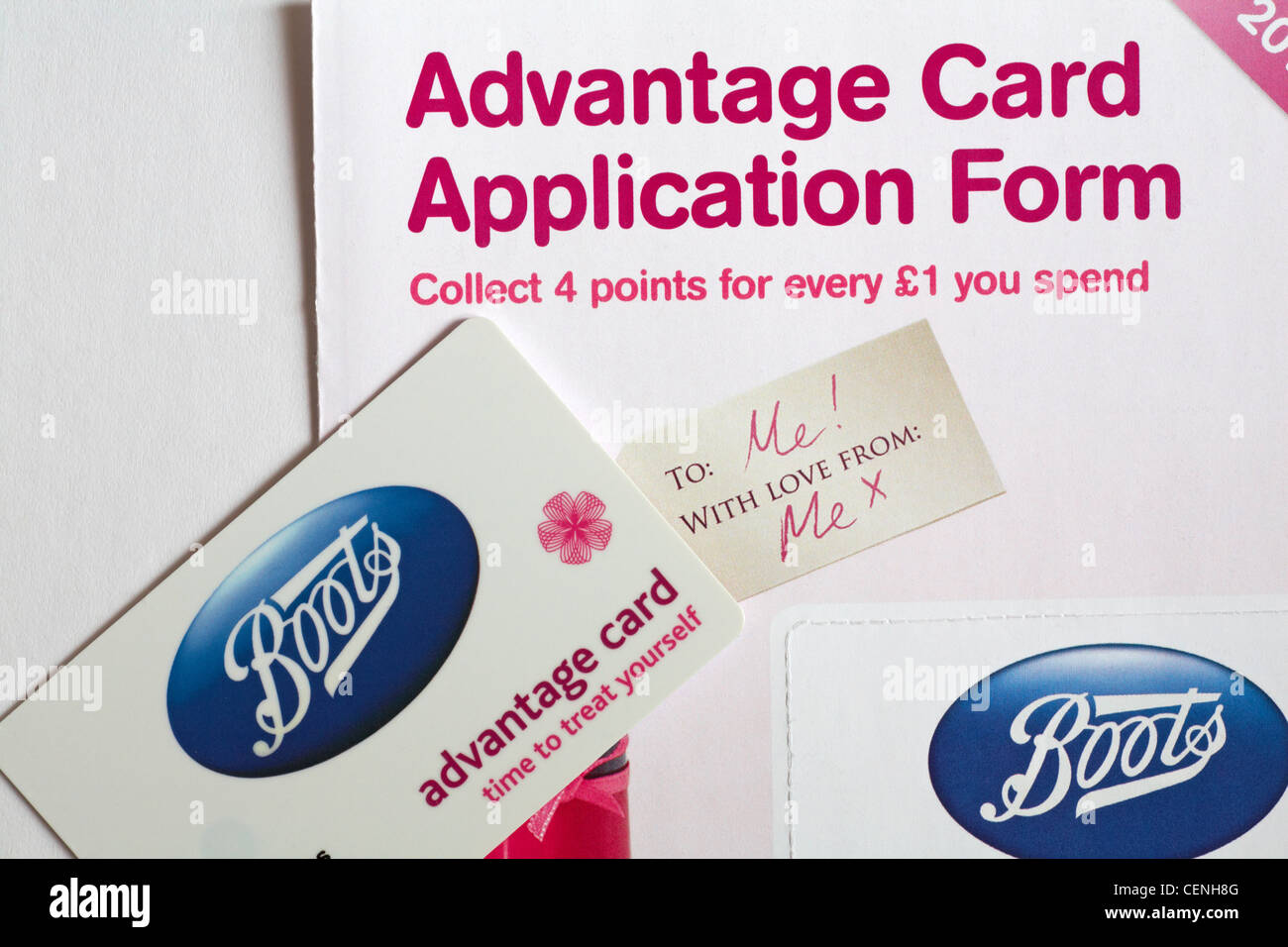 Boots Advantage card and application form on white background - Stock Image