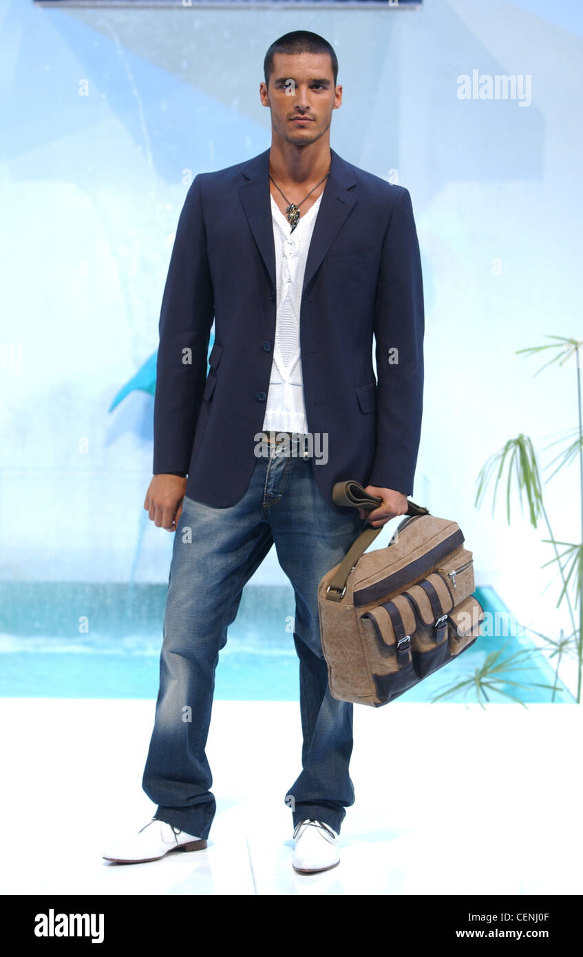 Etro Milan Menswear S S Shaven Head Male Wearing Blue Blazer Jacket Stock Photo Alamy