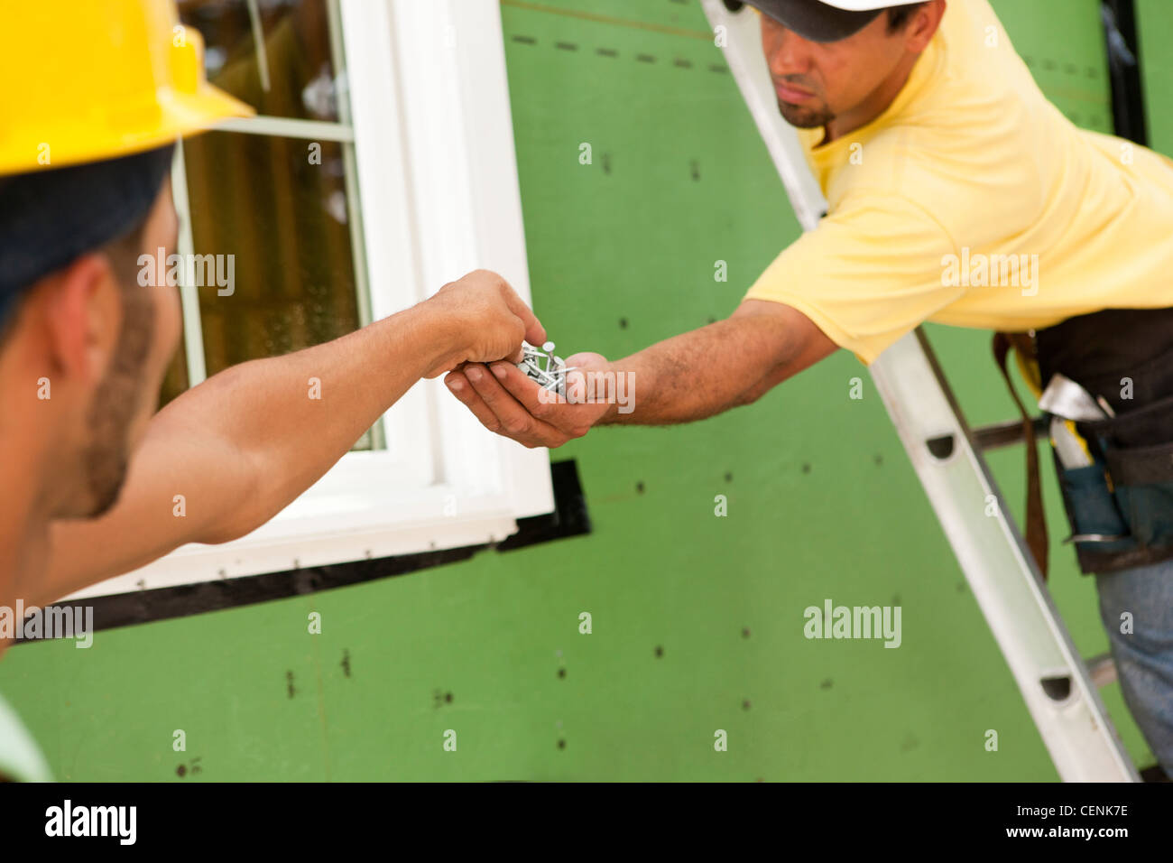 Hispanic carpenter handing nails to another carpenter for window installation - Stock Image