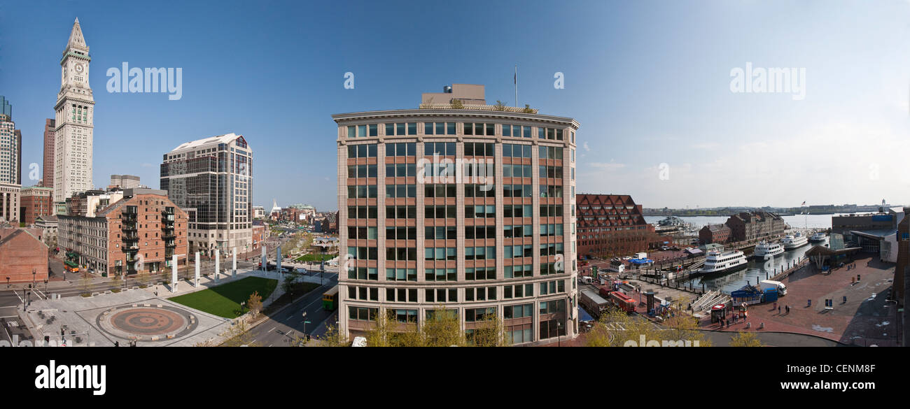 Buildings in a city, Custom House Tower, Rose Kennedy Greenway, Boston, Massachusetts, USA - Stock Image