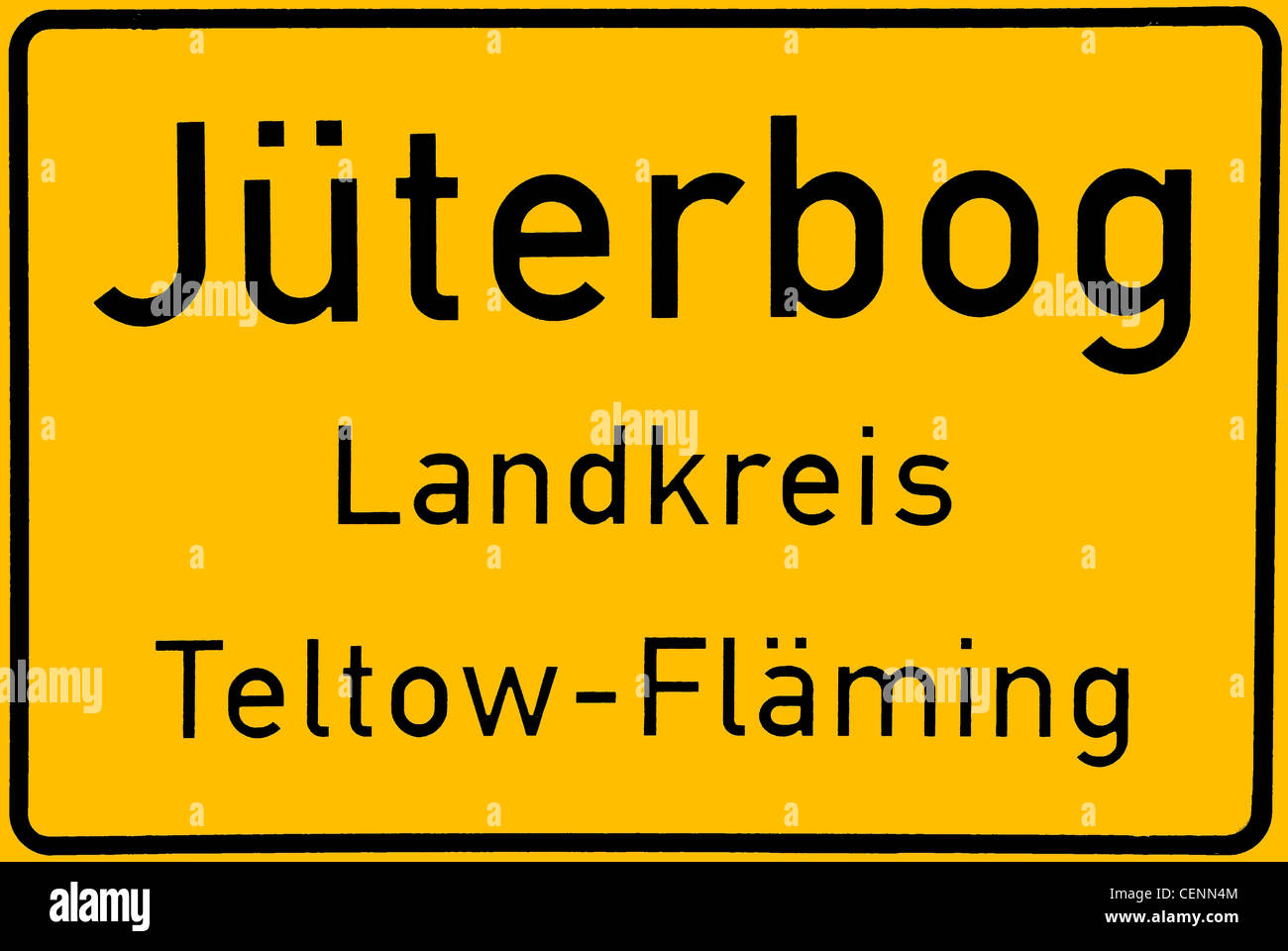 Place name sign of the city of Jueterbog of the Mark Brandenburg. Stock Photo