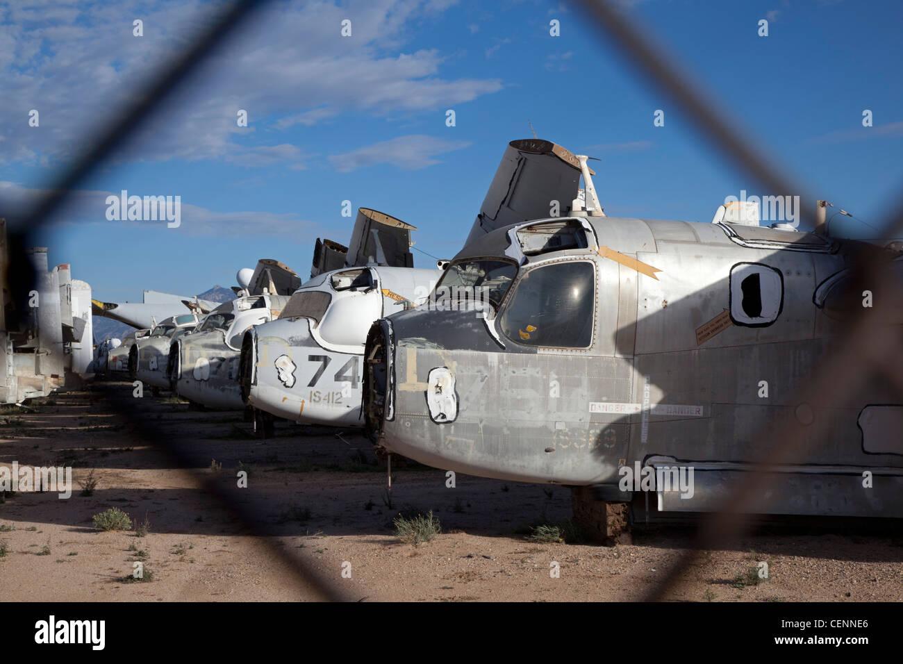 Tucson, Arizona - A military aircraft salvage yard next to Stock