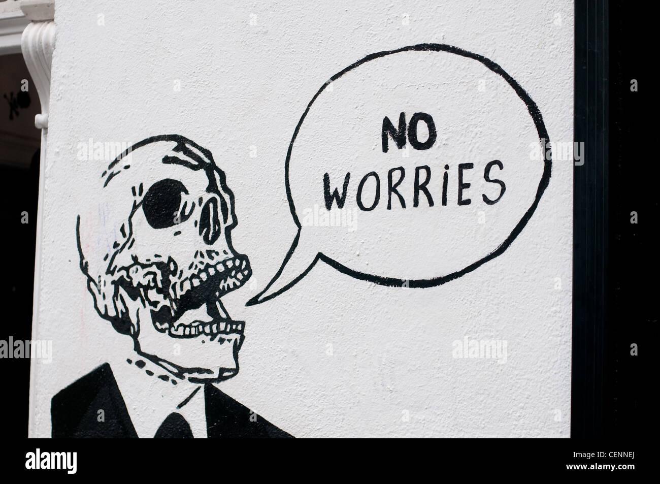 No worries - Graffiti - Stock Image