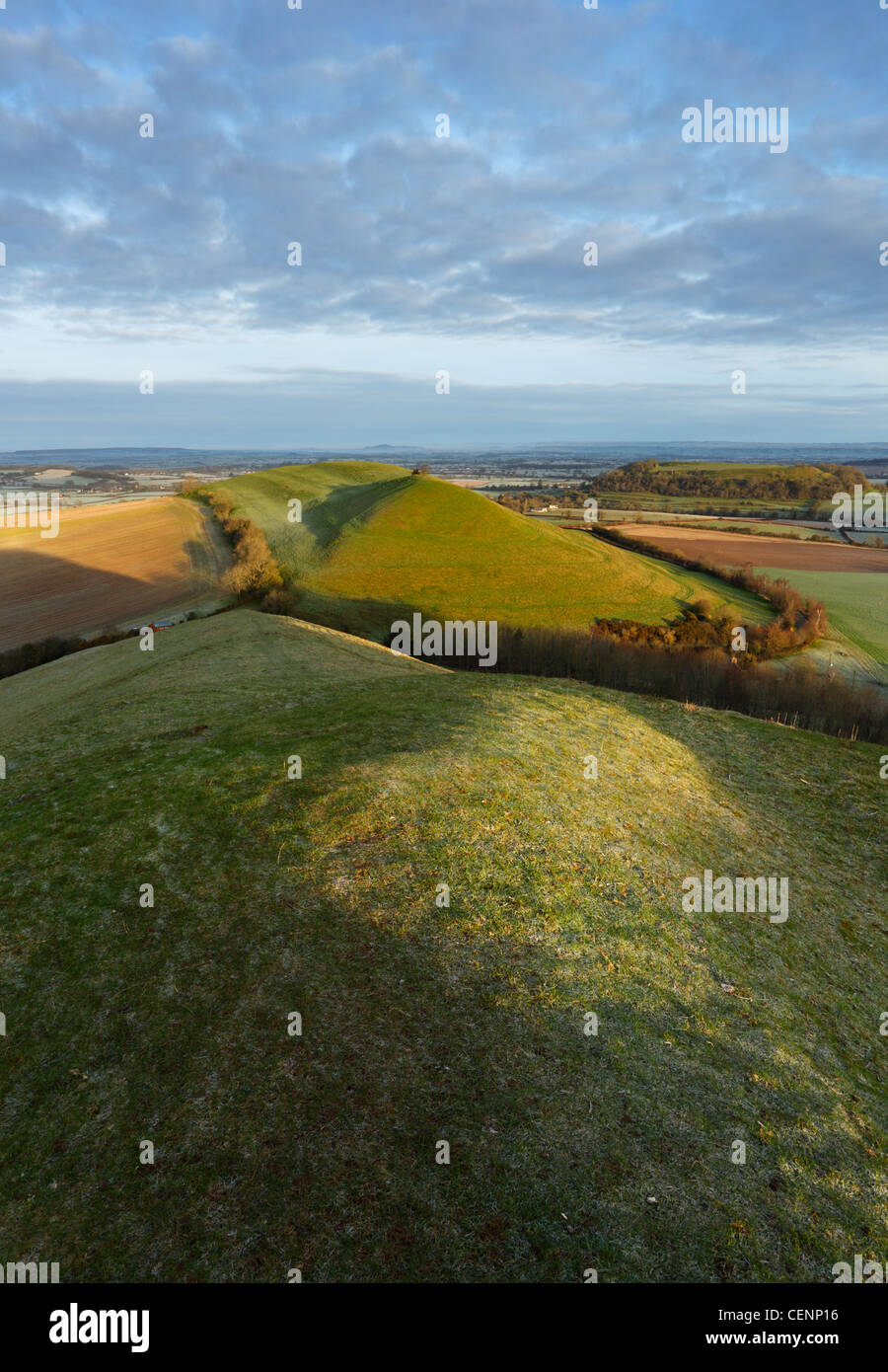 View from Corton Hill towards Parrock Hill, Cadbury Castle and Glastonbury Tor in the distance. Somerset. England. - Stock Image
