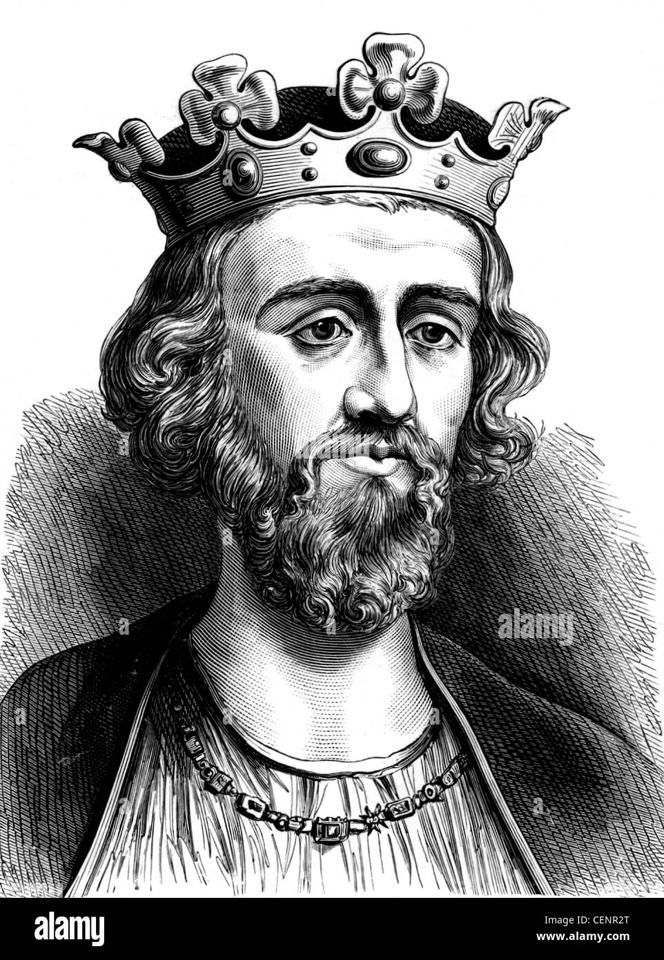 Edward II (1284-1327) king of England from 1307, Wood engraving end of XIX th century - London - Stock Image
