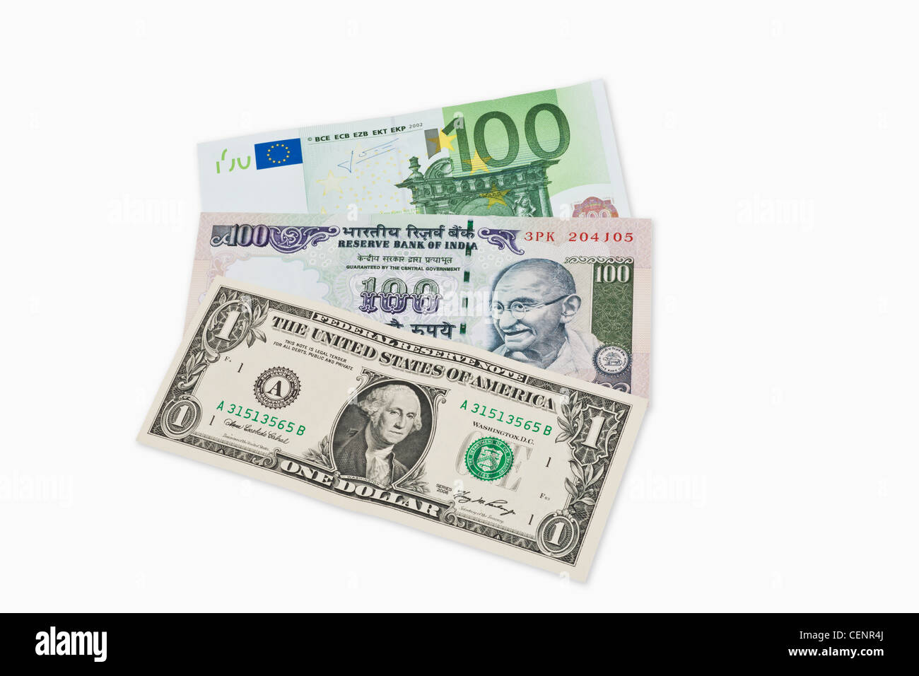three bills worth 100 indian rupees 100 euro and 1 u s dollar lie stock photo 43505074 alamy. Black Bedroom Furniture Sets. Home Design Ideas
