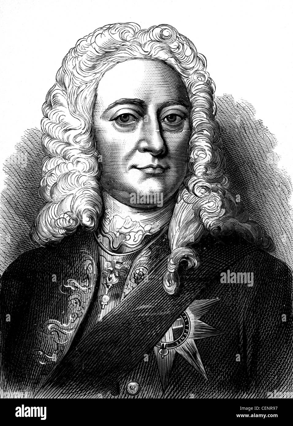 George II (1683-1760) king of Great Britain and Ireland from 1727. .Wood engraving end of XIX th century - London - Stock Image