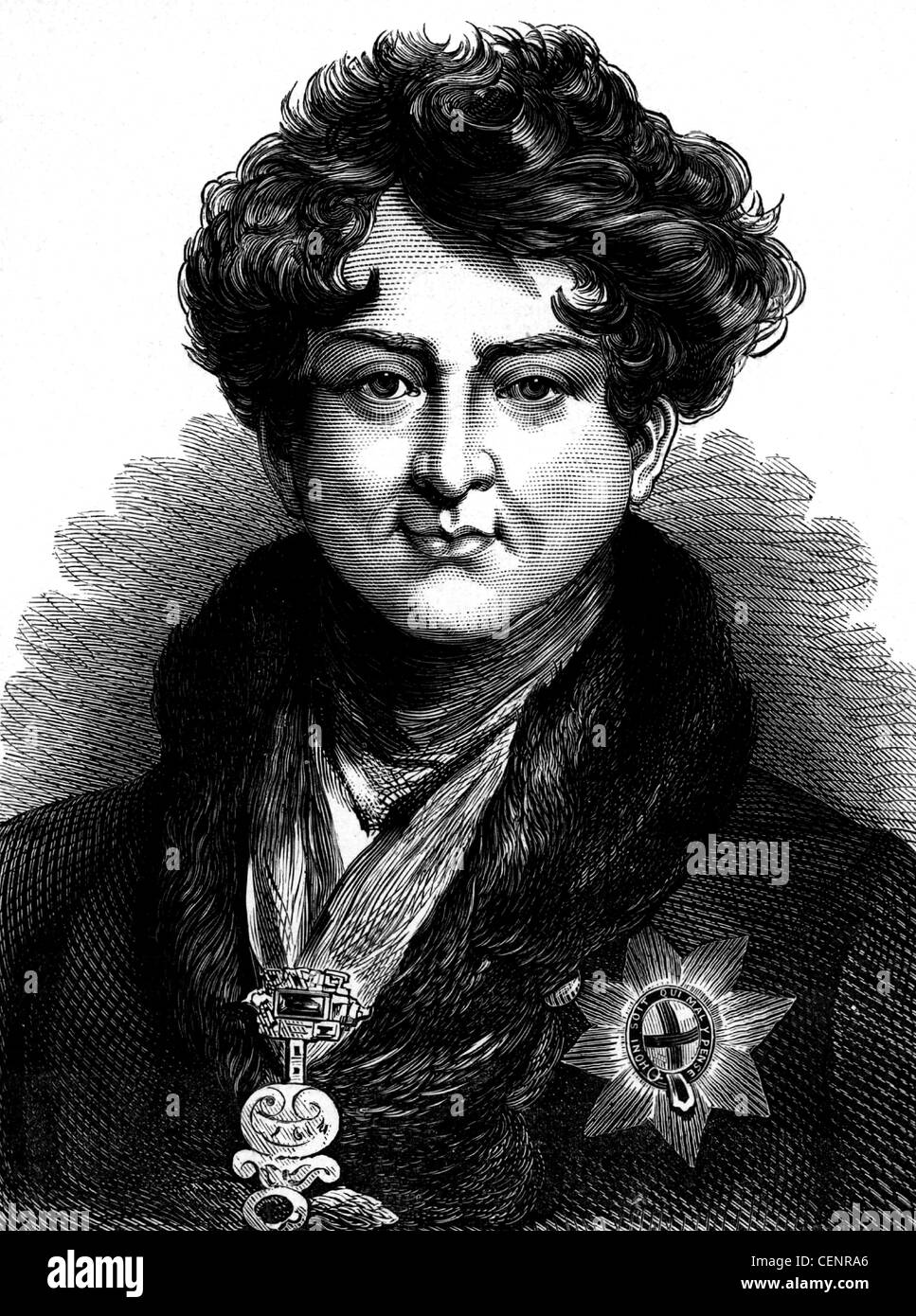 George IV (1762-1830) King of Great Britain and Ireland from 1820. Wood engraving end of XIX th century - London - Stock Image