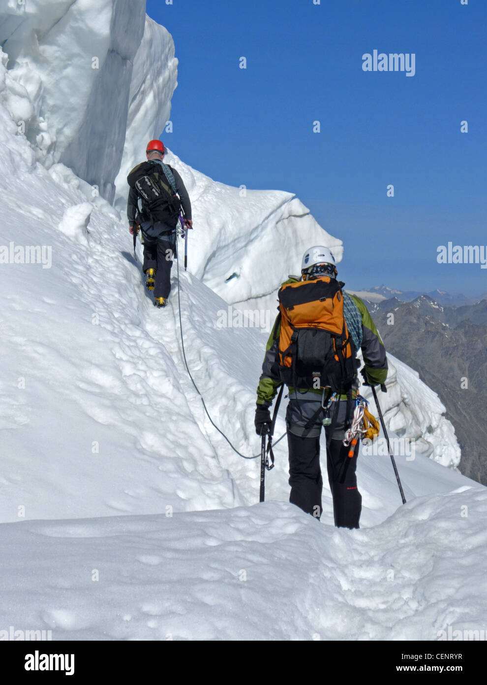 Alpine climbing on the Weissmiess Switzerland Stock Photo