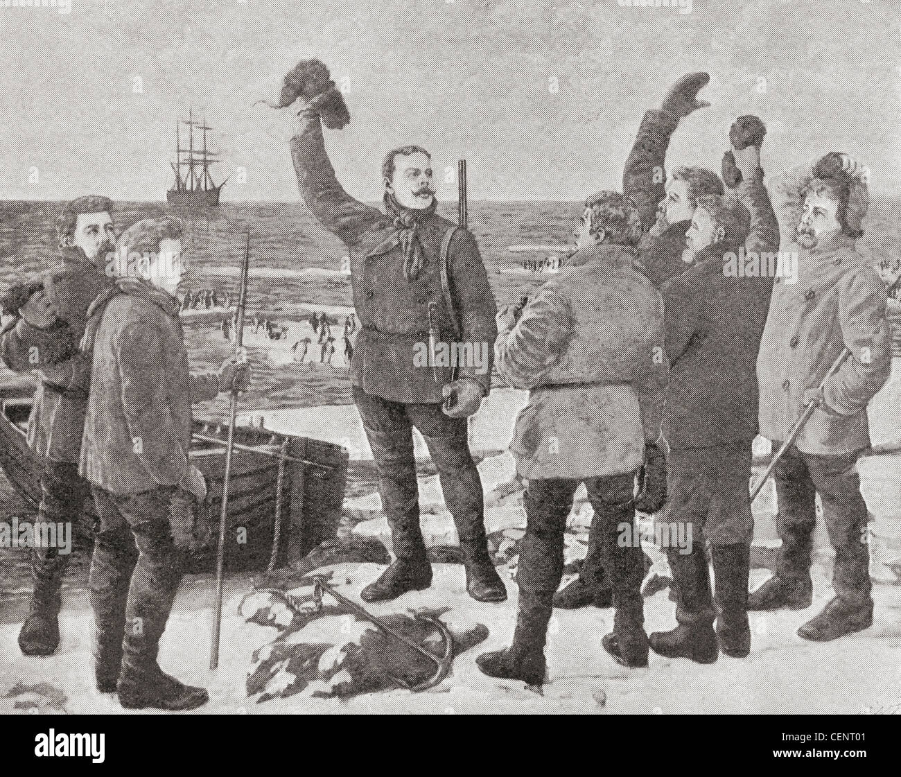 Carsten Egeberg Borchgrevink on Possession Island in the Antarctic in 1895, giving three cheers for Sir James Clark - Stock Image