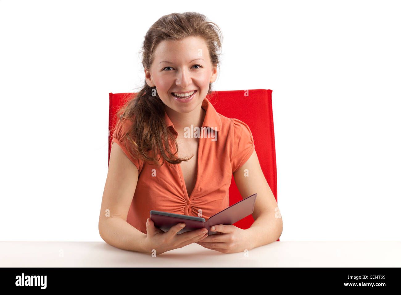 Young woman with ebook reader - Stock Image