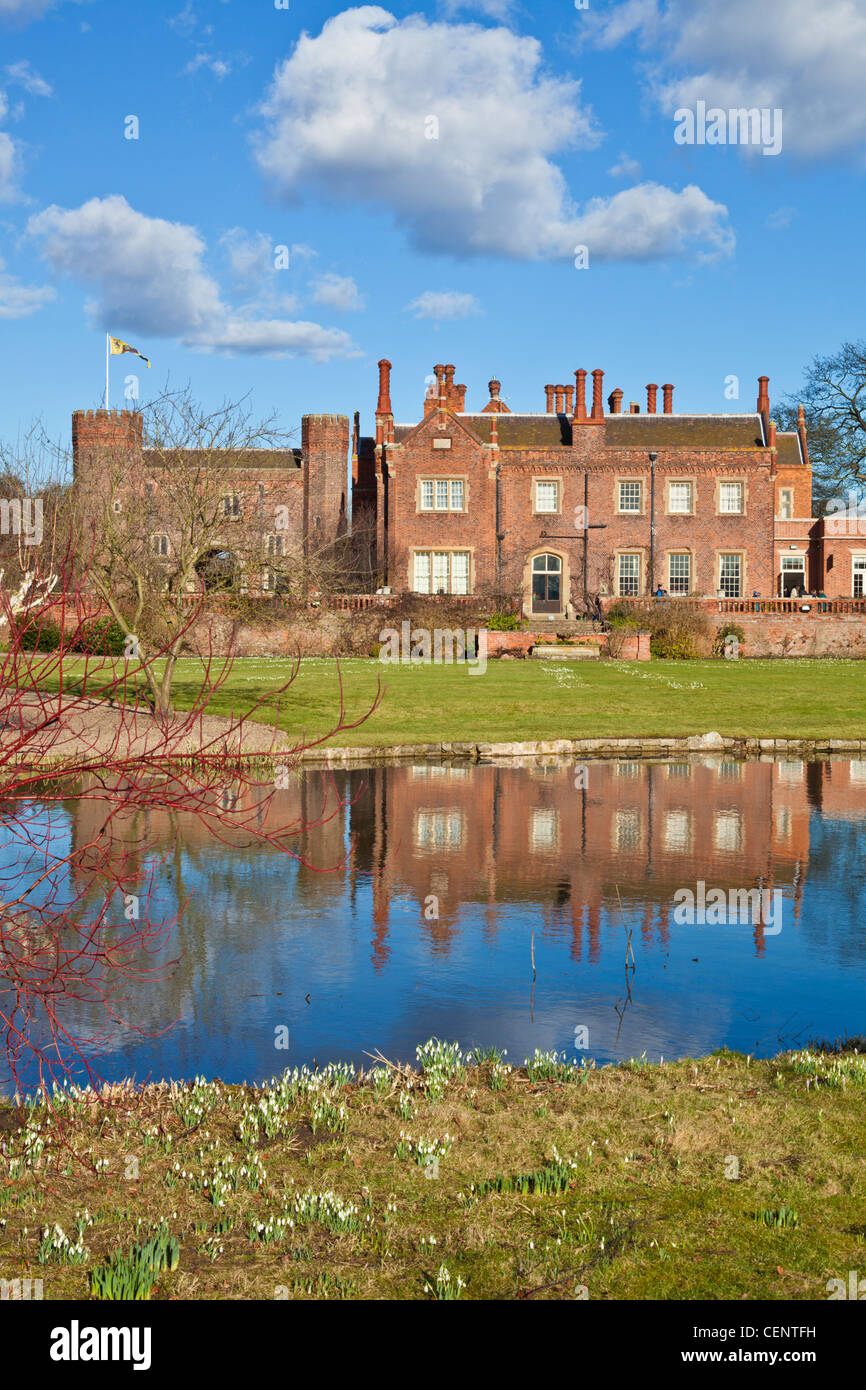 Snowdrops at the famous Hodsock Priory near Worksop Nottinghamshire England GB UK EU Europe - Stock Image