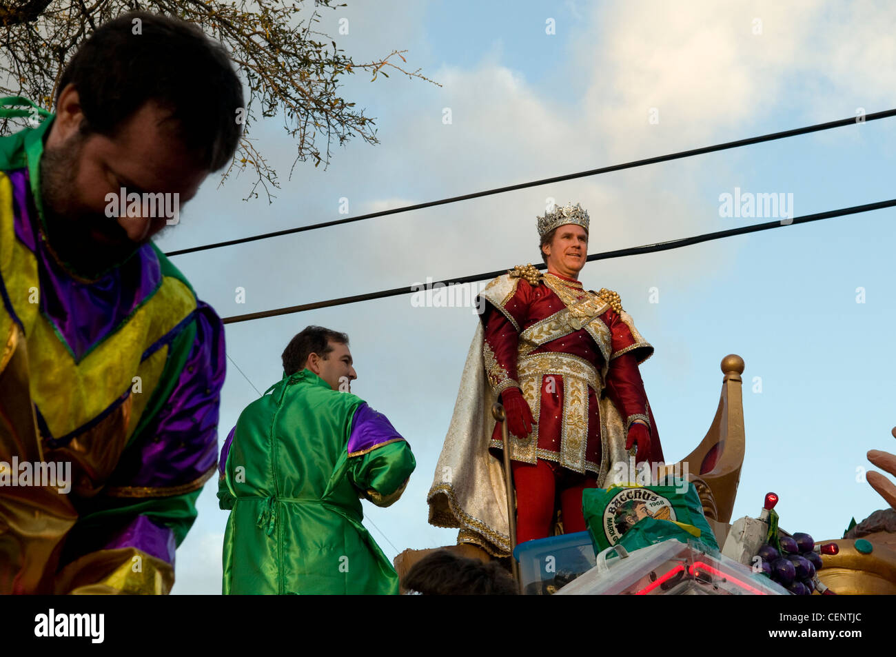 Will Ferrell on the king's float, New Orleans Mardi Gras King of Bacchus 2012 Stock Photo