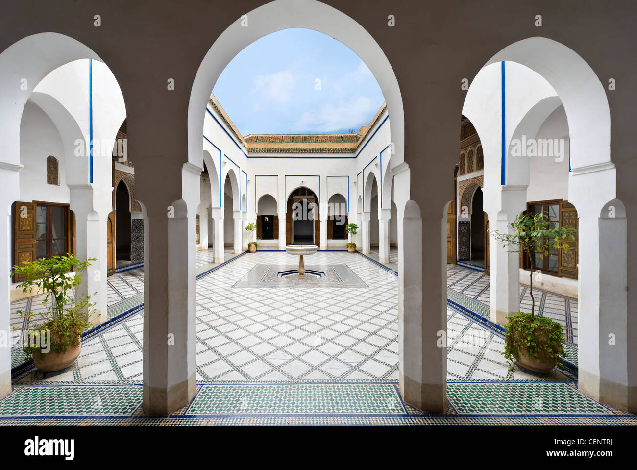 'La Petite Cour' courtyard in the Bahia Palace, Marrakech, Morocco, North Africa Stock Photo