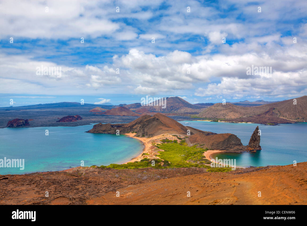 View of the pinnacle on Bartolome, Galapagos - Stock Image