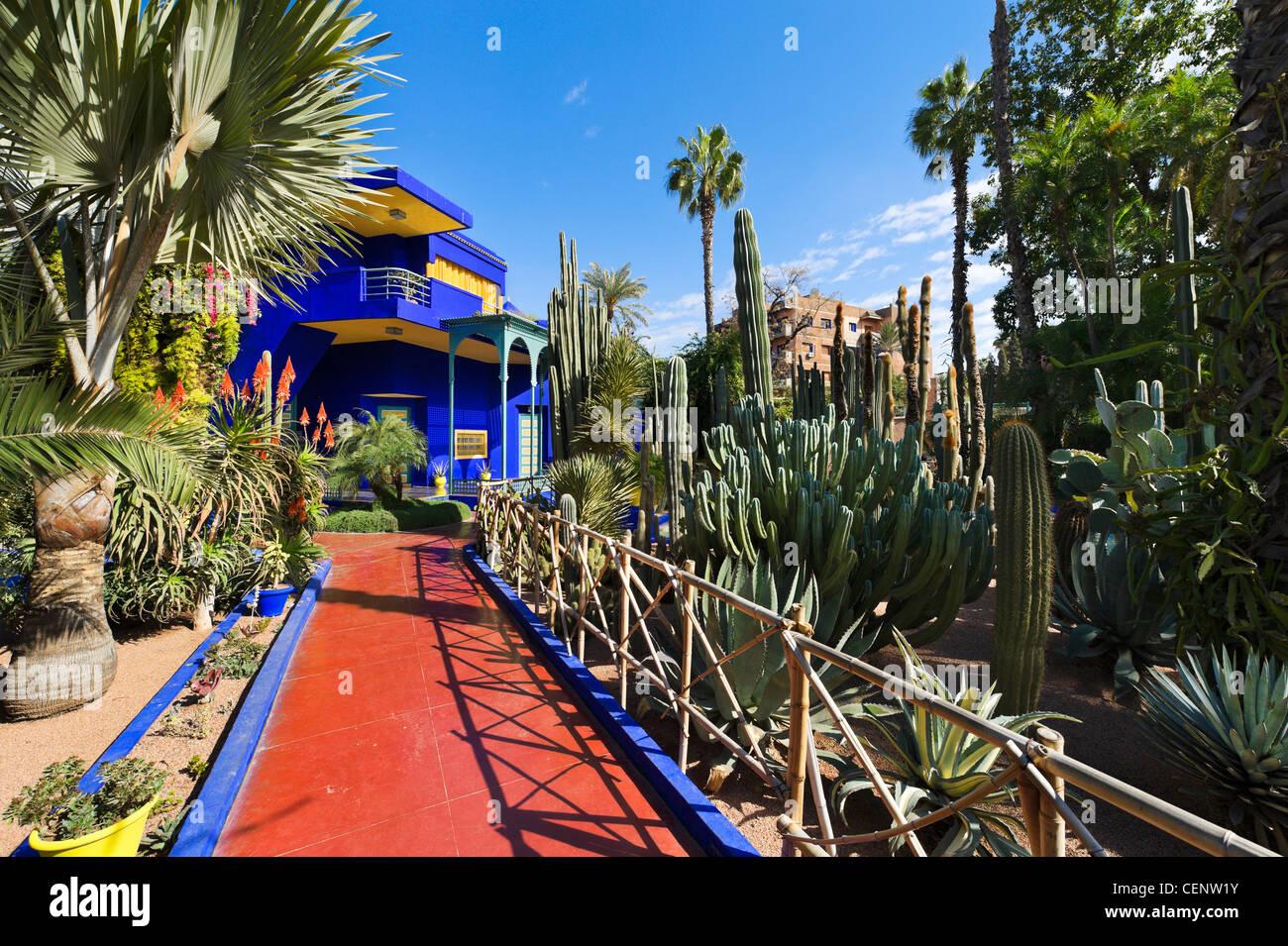 Jardin Majorelle. Art deco villa at the centre of the Majorelle Garden, Marrakech, Morocco, North Africa - Stock Image