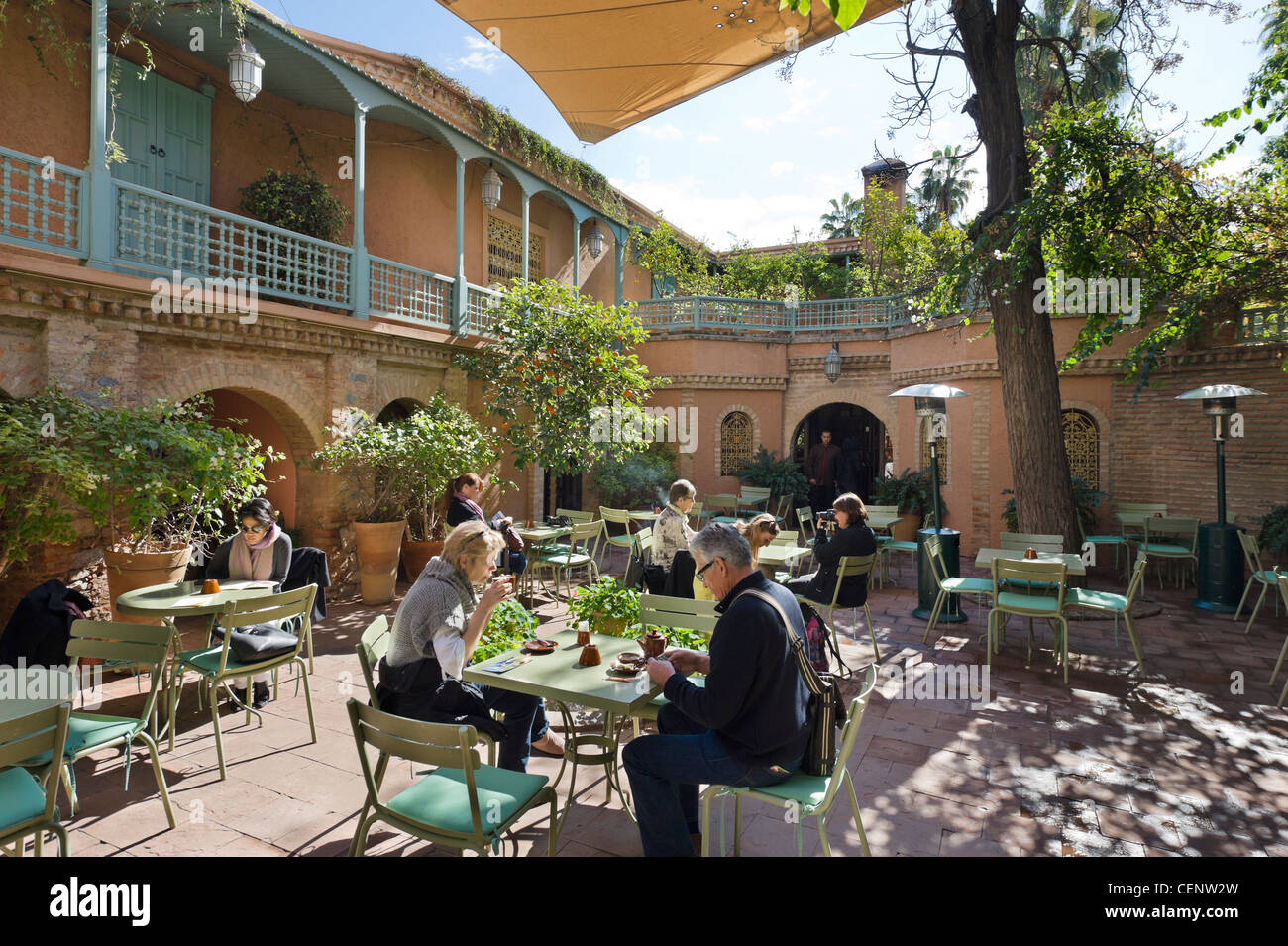 Terrace of the cafe in the Jardin Majorelle ( Majorelle Garden ), Marrakech, Morocco, North Africa - Stock Image