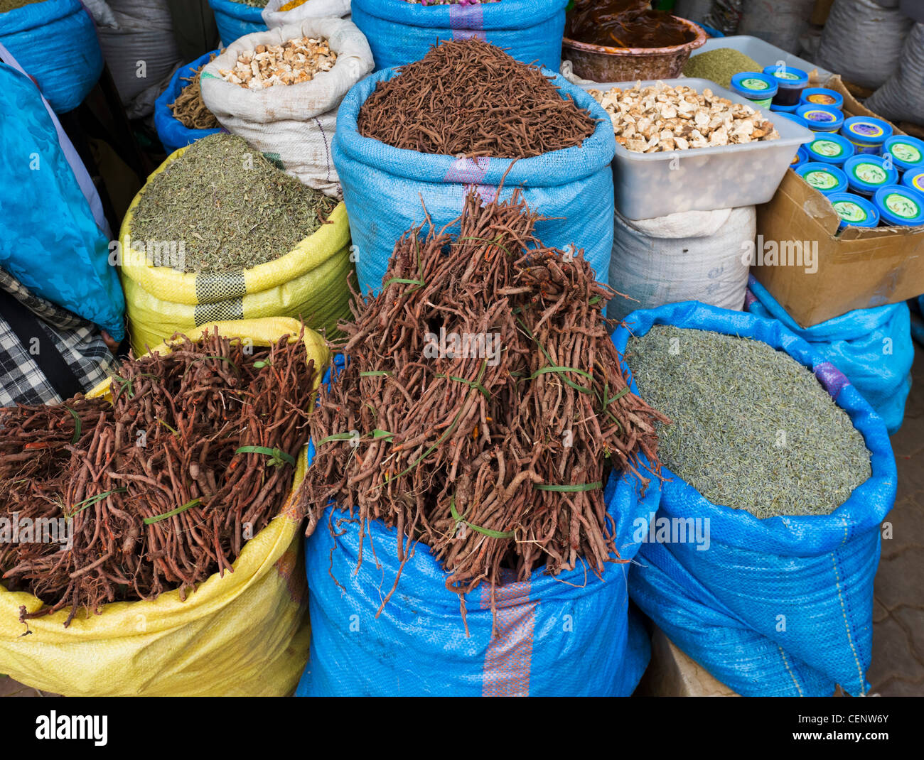 Herbs and spices for sale in Rahba Kedima (Place des Epices), Medina, Marrakech, Morocco, North Africa Stock Photo