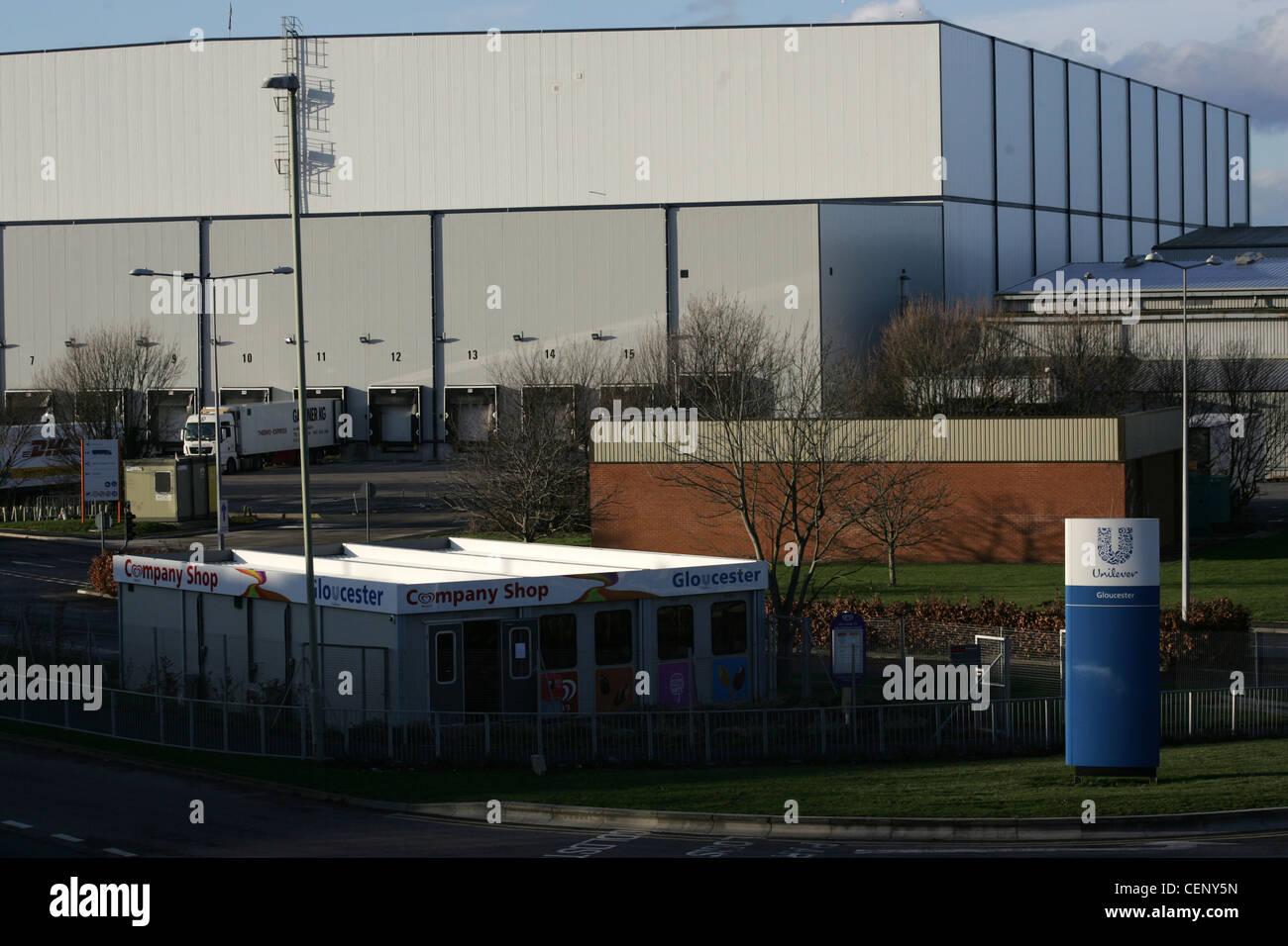 unilever company gates at gloucester uk factory - Stock Image
