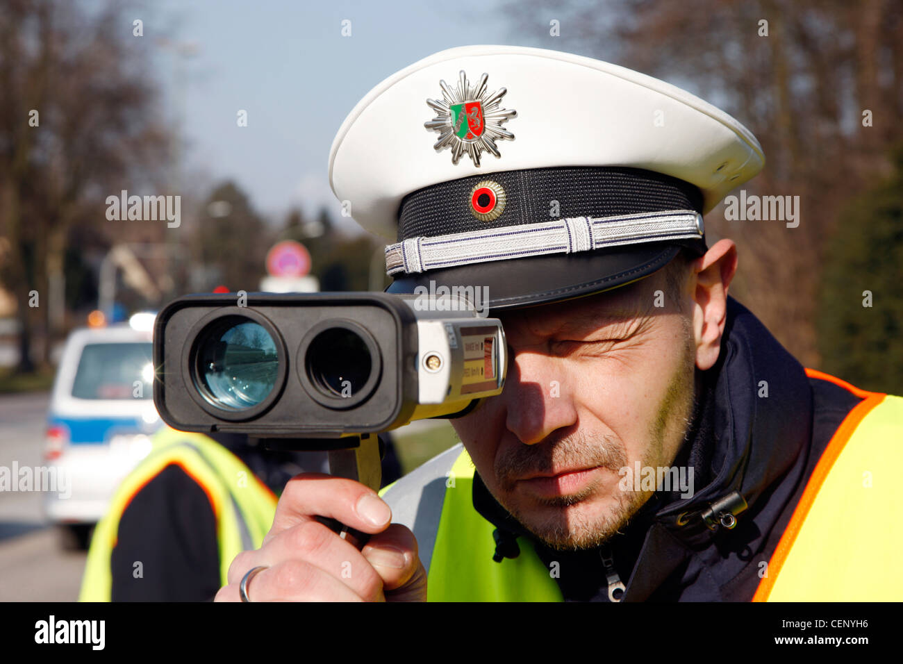 Police control, traffic speed control by a laser measuring system. - Stock Image