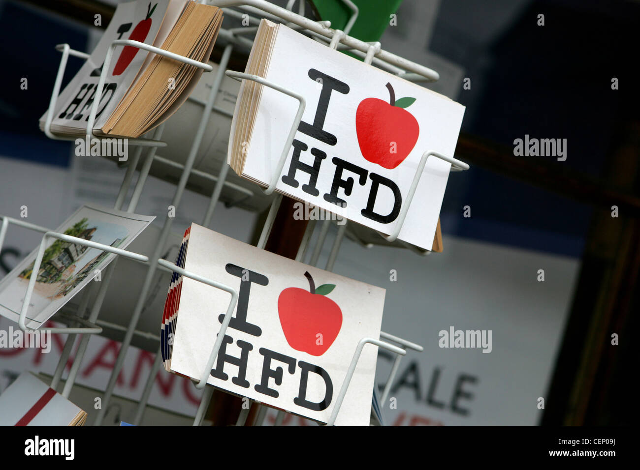 I love Hereford postcards at shop in hereford UK - Stock Image
