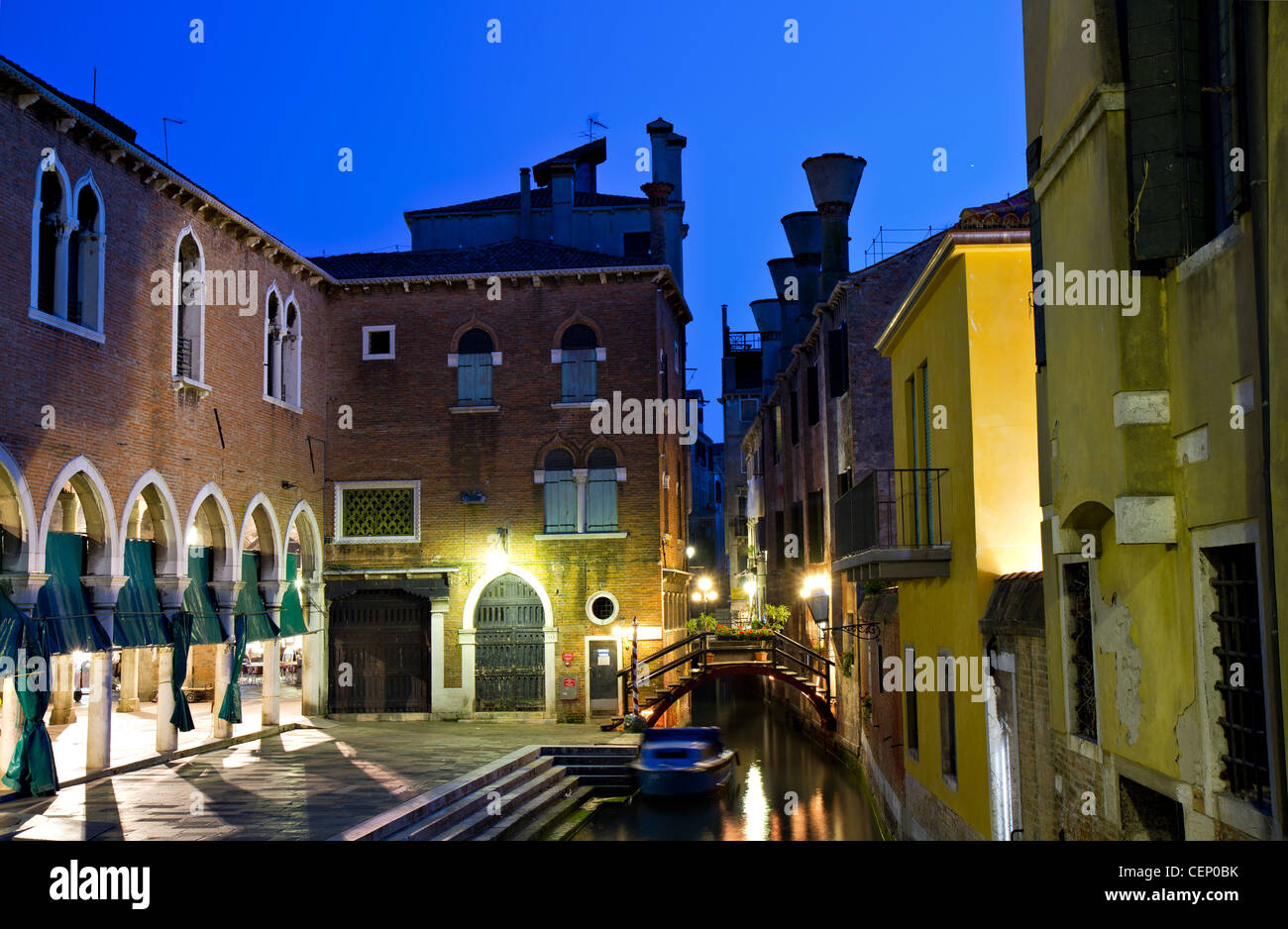 A small channel in San Polo at the blue hour, Venice, Italy Stock Photo